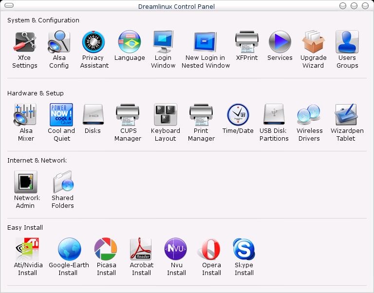 The Dreamlinux Control Panel, with categories such as System & Configuration, Hardware & Setup, Internet & Network and Easy Install.