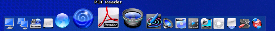Engage, Dreamlinux's dock. The icons around the cursor are enlarged; one icon has a label.