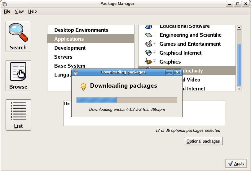 Pirut, Fedora Core 5's program for package management