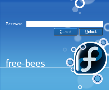 The default unlock screen for Fedora Core 5.