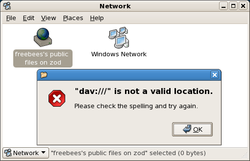 Nautilus showing the error message dav:/// is not a valid location. Please check your spelling and try again.