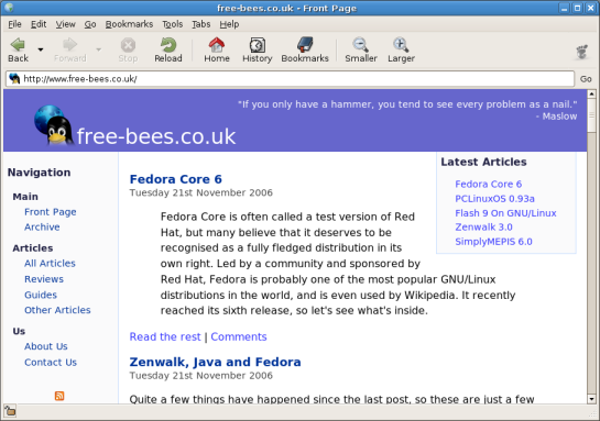 The front page of free-bees.co.uk