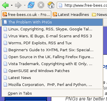 The free-bees.co.uk RSS feed in Mozilla Firefox.