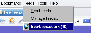 Selecting a feed in Opera.