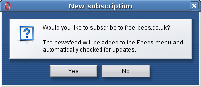 The dialog box in Opera for subscribing to feeds.