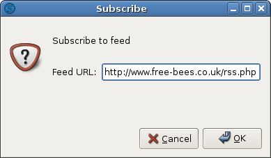 Subscribing to a feed in Straw, a news reader.