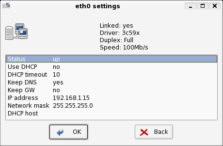 networkconfig showing the different options that can be selected, such as IP address.